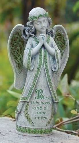 "Celtic Garden Collection. Irish Garden Angel. Inscribed ""Bless this house and all who enter"".  14.5""H x 7.75""W x 4.63""D. Resin/Stone Mix"
