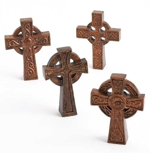 """4""""H Resin/Stone Mix tabletop crosses.  Specific designs of crosses are available while supplies last."""