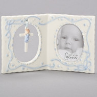 "Porcelain Girl(pink) or Boy(Blue) Baby Frame with Cross and holds a 2.5"" x 3.5"" photo.  Dimensions: 4""H x 6.25""W x 1.237""D. Gift Boxed"