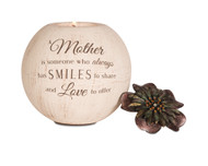 "Mother 5"" Round Tea Light Holder. ""A Mother is someone who always has smiles to share and love to offer."" Candle not included."