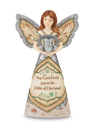 "8"" Angel holding Claddagh. Inscribed with: ""May God hold you in the Palm of His Hand"""