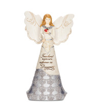 "6"" Teacher Angel Holding Book & Apple. Inscribed with: ""Teachers inspire us to achieve our Dreams"""