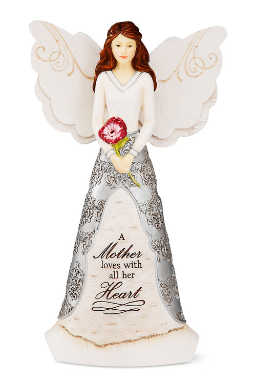 "8"" Angel holding Flower Inscribed with: ""A Mother loves with all her Heart"""