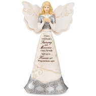 "8"" Sympathy Angel. ""If Tears Could Build A Stairway And Memories A Lane, I'd Walk Right Up To Heaven And Bring You Home Again."" Text is debossed and hand-painted onto the front of the angel, alongside an intricate silver design and bird."