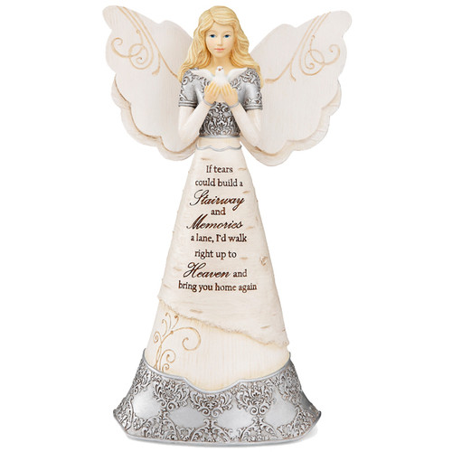 """8"""" Sympathy Angel. """"If Tears Could Build A Stairway And Memories A Lane, I'd Walk Right Up To Heaven And Bring You Home Again."""" Text is debossed and hand-painted onto the front of the angel, alongside an intricate silver design and bird."""