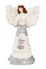 "6"" Angel figurine holding calla lillies with ""Nurses Care with all Their Heart"" written on front of skirt."