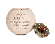 """5"""" Round Tea Light Candle Holder. Tea light Candle Holder is  packaged securely in a printed box. The candle holder is made from terracotta and features a decorative metal lid and fits a regular tealight (included).""""Only an Aunt can hug like a Mother and share laughter like a Friend"""" is written on the front of the candle holder."""