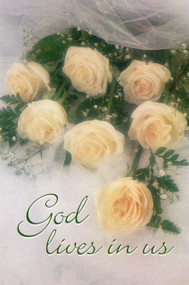 Wedding Program Covers,White Roses and Lace - God Lives in Us