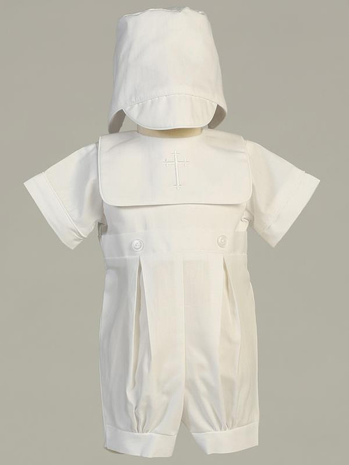 Zachary ~ Cotton Romper Baptism Set w/ Hat.  White Embroidered Cross on Front Poly Sizes: 0-3m, 3-6m, 6-12m, 12-18m. Made In USA