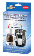 Parker & Bailey Coffee Machine Cleaner & Descaler tablets will clean and descale conventional and single cup coffee makers.  These effervescent tablets dissolve scale and mineral build-up, creating a better flow for your coffee.  Just drop tablets in reservoir, watch tablets dissolve, and run multiple cycles to produce best results.  4 tablets per box.
