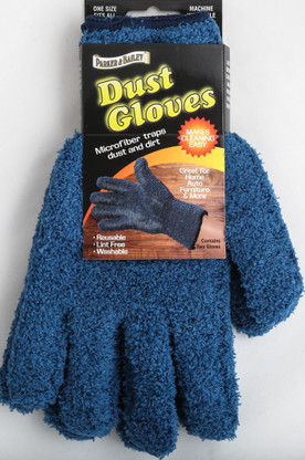 Parker & Bailey Dust Gloves are the perfect tool for cleaning and dusting any surface.  Microfiber gloves trap dust and dirt.  Great for Home, Auto, Furniture & More.  Re-usable, washable and lint free.  Cleans and dusts without chemicals or liquids.