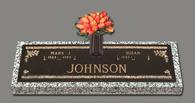 """C-GB45 V1 """"Abbey Rose"""" Companion bronze over granite marker with bronze invertible patrician vase."""