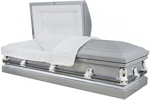 M-4225-FS  PARIS  Silver 20 Gauge  non-protective White crepe interior The ideal casket