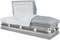 M-4225-FS  PARIS  Silver 20 Gauge  non-protective White crepe interior The ideal casket