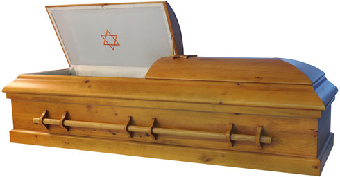 W-8811-FS Solid Poplar Jewish casket White Crepe Interior, Optional Star Only 20.5 Inches Inside