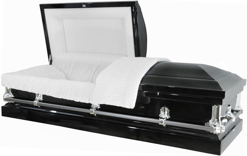 M-4216-FS The Ideal casket 20 Gauge non-protective metal casket Black with silver hdwr and white crepe interior