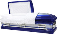 M-8403-FS    -18g Royal Blue Casket W/ Natural Brush White Velvet Interior, Silver Hardware