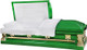 M-8441-FS  18ga Grass Green Casket White Velvet, Gold Hardware