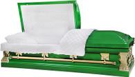 M-8441-FS  18ga Grass Green Casket White Velvet, Gold Hardware