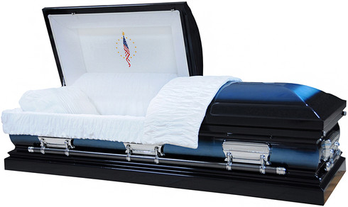 M-8057-FS - Fallen Flag Casket, 18ga Dark Blue and Light Blue Finish