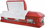 M-8216-FS   - 18 Gauge Steel Casket Red Casket with White velvet