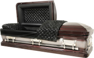 M-8224-FS - Burgundy Casket, 18ga Black Smooth Leather-Look, Silver Hardware