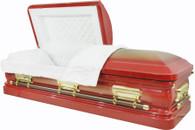 M-8375-FS   - Red Casket w/Gold Brush, 18ga Gold Hardware - Gold Brush - White Velvet