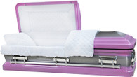 M-8410-FS  - 18ga Lavender (Light Purple) Casket W/ Natural Brush White Velvet Interior, Silver Hardwar