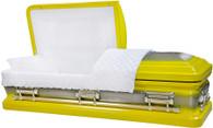 M-8404-FS  - 18ga Bright Yellow Casket W/ Natural Brush White Velvet Interior, Silver Hardware