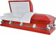 M-8590-FS   -PARIS  Red Casket, 18 Ga Protective White Quilted Velvet, Silver Hardware