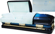M-8168-FS  - 18 Gauge Steel In Gods Care Casket Dark Blue and Light Blue Finish