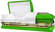 M-8405-FS - 18ga Lime Green Casket W/ Gold Brush White Velvet Interior, Gold Hardware