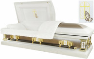M-2217-FS 2217 - Praying Hands Casket 18ga White w/ Gold Metallic White Velvet
