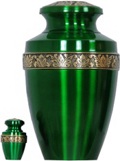 Urn FS 065-A - Brass Urn Velvet Box plus 1 Keepsake Green