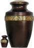 Urn 063-A - Brass Urn Velvet Box plus 1 Keepsake Brown with Gold