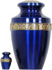 Urn 062-A - Brass Urn Velvet Box plus 1 Keepsake Navy Blue
