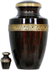 Urn FS 141-A - Brass Urn Velvet Box plus 1 Keepsake Dark Red