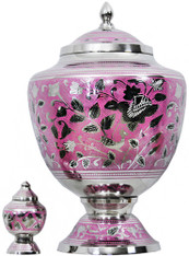 Urn FS 050-A - Brass Urn Velvet Box plus 1 Keepsake Silver with Pink
