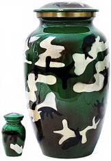 Urn FS 323-A - Brass Urn Velvet Box plus 1 Keepsake Camo