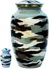 Urn FS 320-A - Brass Urn Velvet Box plus 1 Keepsake Camo