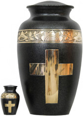 Urn FS 151-A - Brass Urn Velvet Box plus 1 Keepsake Black