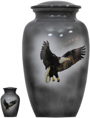 Urn FS 124-A - Brass Urn Velvet Box plus 1 Keepsake Gray with Bald Eagle