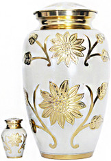 Urn FS 001-A - Brass Urn Velvet Box plus 1 Keepsake Eggshell White
