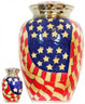 Urn FS 017-A - Brass Urn Velvet Box plus 1 Keepsake Red White & Blue