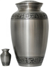 Urn FS 032-A - Brass Urn Velvet Box plus 1 Keepsake Silver