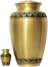 Urn FS 033-A - Brass Urn Velvet Box plus 1 Keepsake Gold