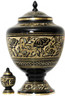 Urn FS 043-A - Brass Urn Velvet Box plus 1 Keepsake Black with Gold Trim