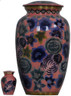 Urn FS 059-A - Brass Urn Velvet Box plus 1 Keepsake Pink with Multi colored Flowers