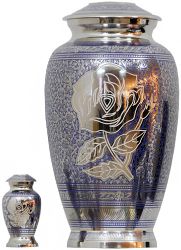 Urn FS 078-A - Brass Urn Velvet Box plus 1 Keepsake Silver with Blue Green Design