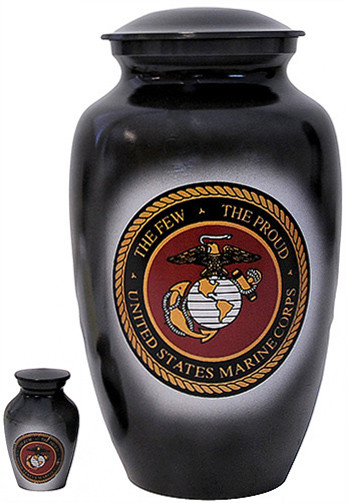 Urn FS 306-A - Brass Urn Velvet Box plus 1 Keepsake Marine Corps